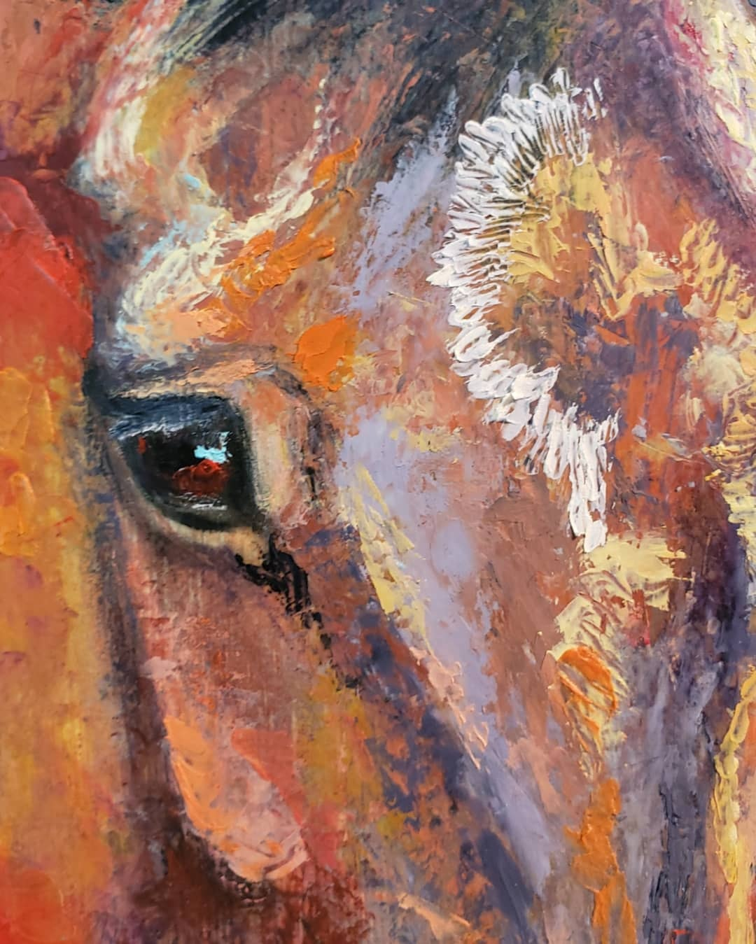 """Eye Detail showing texture and colour Horse portrait """"Curious"""" mixed media on Bamboo Cutting Board 10"""" x 15"""" Copyright Renee Forth-Fukumoto"""
