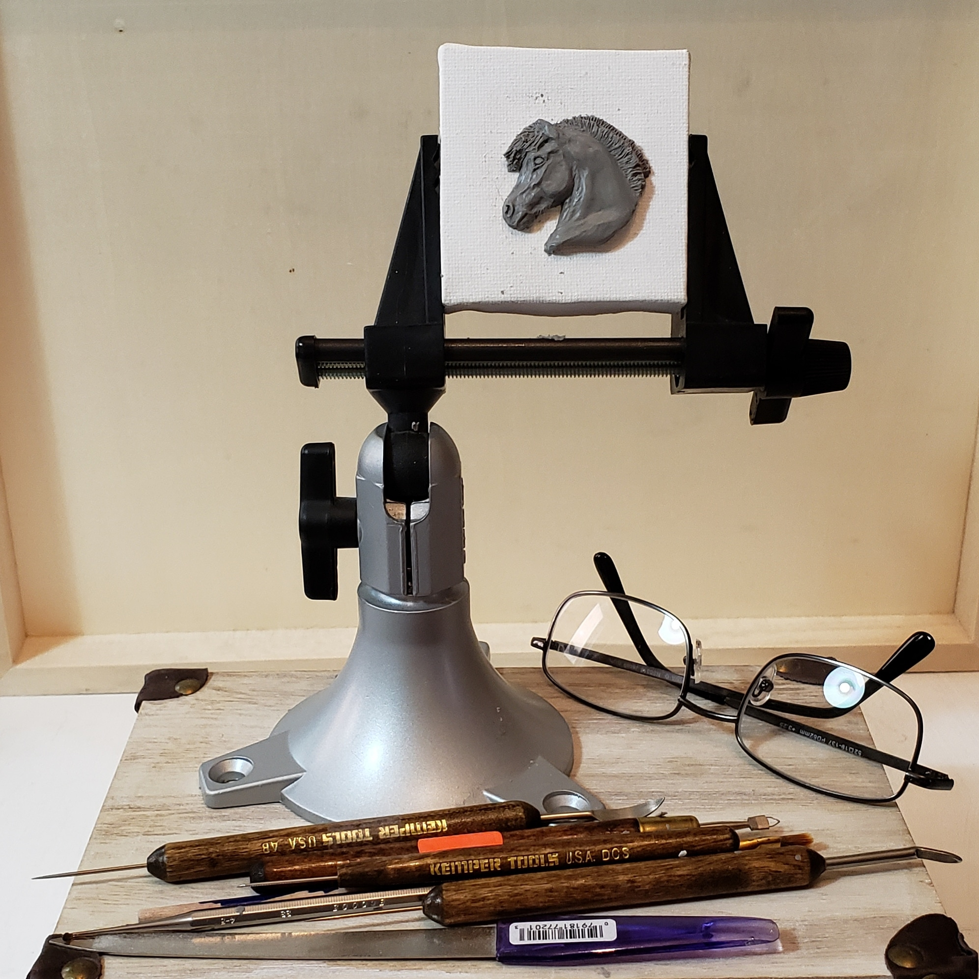 My teeny tiny easel set up for sculpting on a tiny scale.
