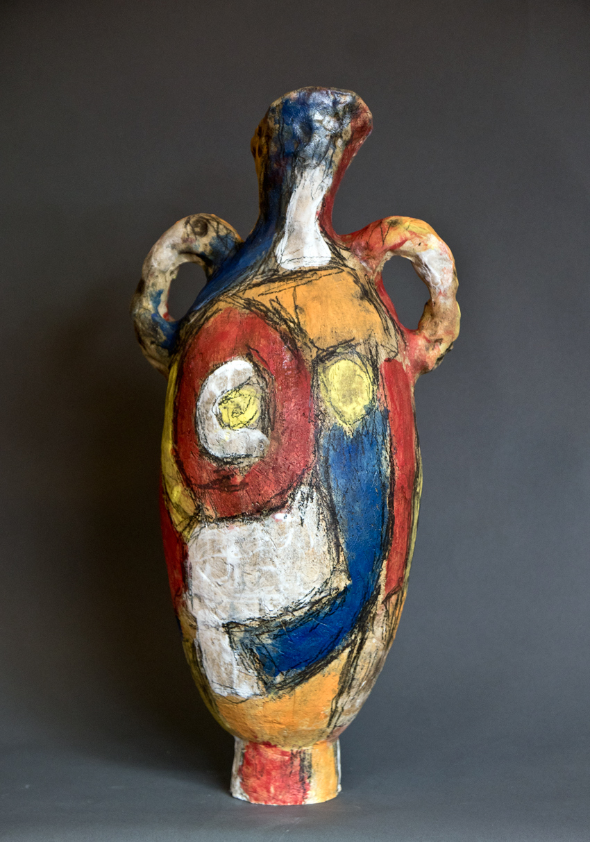 Two Handled Colored Urn