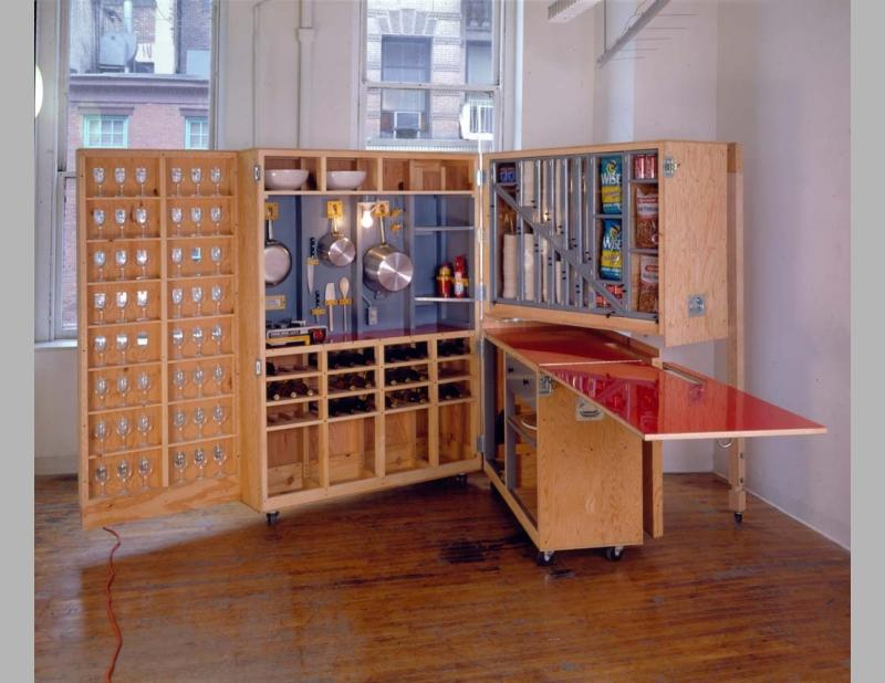 Caption: Torre commissioned Allan Wexler to design a portable kitchen that could be tucked away in leftover space beside the elevator on the second floor of 23 East 13th Street. The project brought some of the feminist goals of the architectural studio to an institutional setting and has been the social heart of the School of Constructed Environments for two decades.