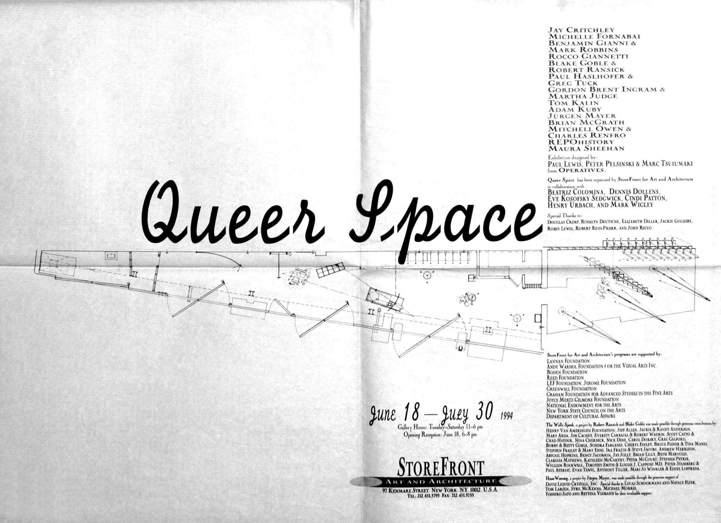 Poster of  Queer Space  exhibition, 1994, at the Storefront for Art and Architecture, New York. Courtesy Storefront for Art and Architecture.