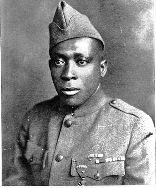 Sgt. Henry Johnson circa 1919, wearing his Croix de Guerre. (Photo Courtesy of Johnson family  source: army.mil  )