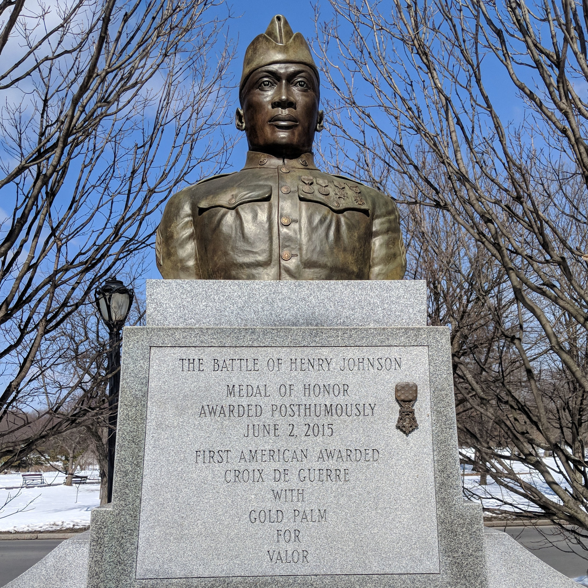 "Sgt. Henry Johnson statue bust. Washington Park, Albany, NY. (Photo by  Drake Nix Media )   Note: Johnson's regiment — the 369th Infantry Regiment, formerly known as the 15th New York National Guard Regiment, also known as the ""Harlem Hellfighters""— wore the  French Adrian helmet , not the  Brodie helmet (or doughboy helmet)."