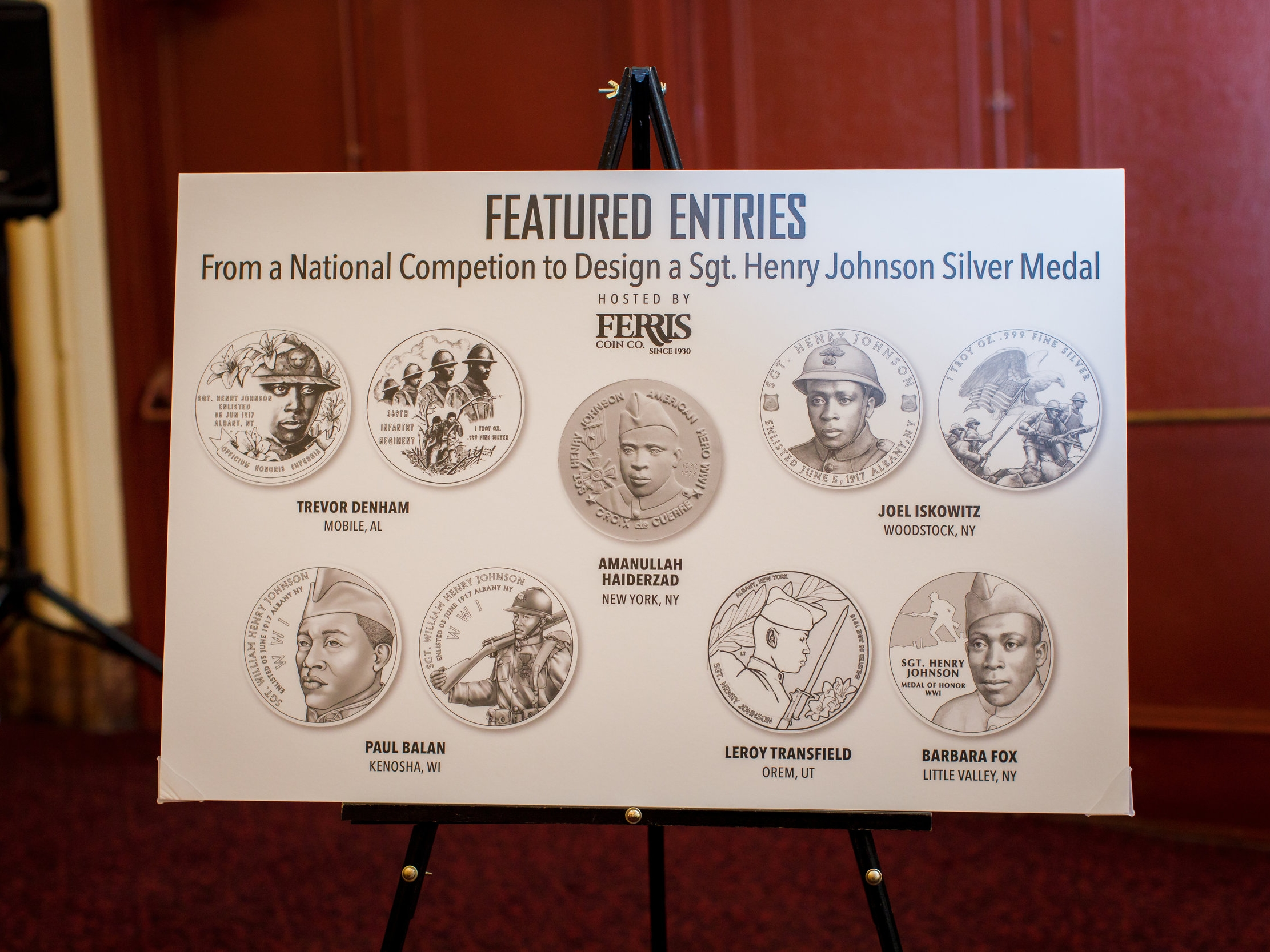 There were more than five dozen submissions to Ferris Coin Co.'s nationwide contest to design the Sgt. Henry Johnson silver round commemorative medal. Artists from around the country submitted incredible designs. Pictured above is a poster displayed during the June 27 premiere.