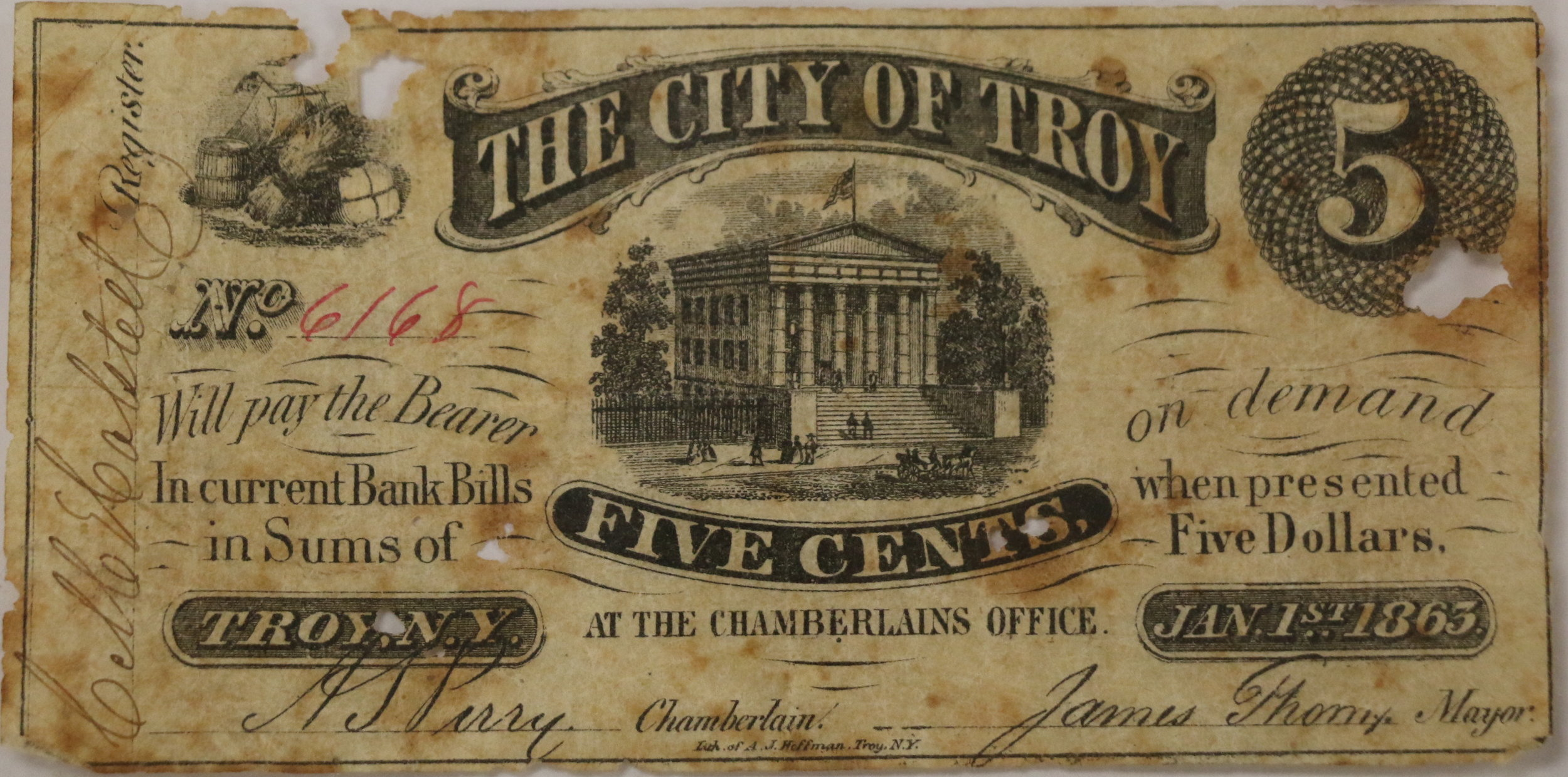 Five cent fractional currency issued by the City of Troy.