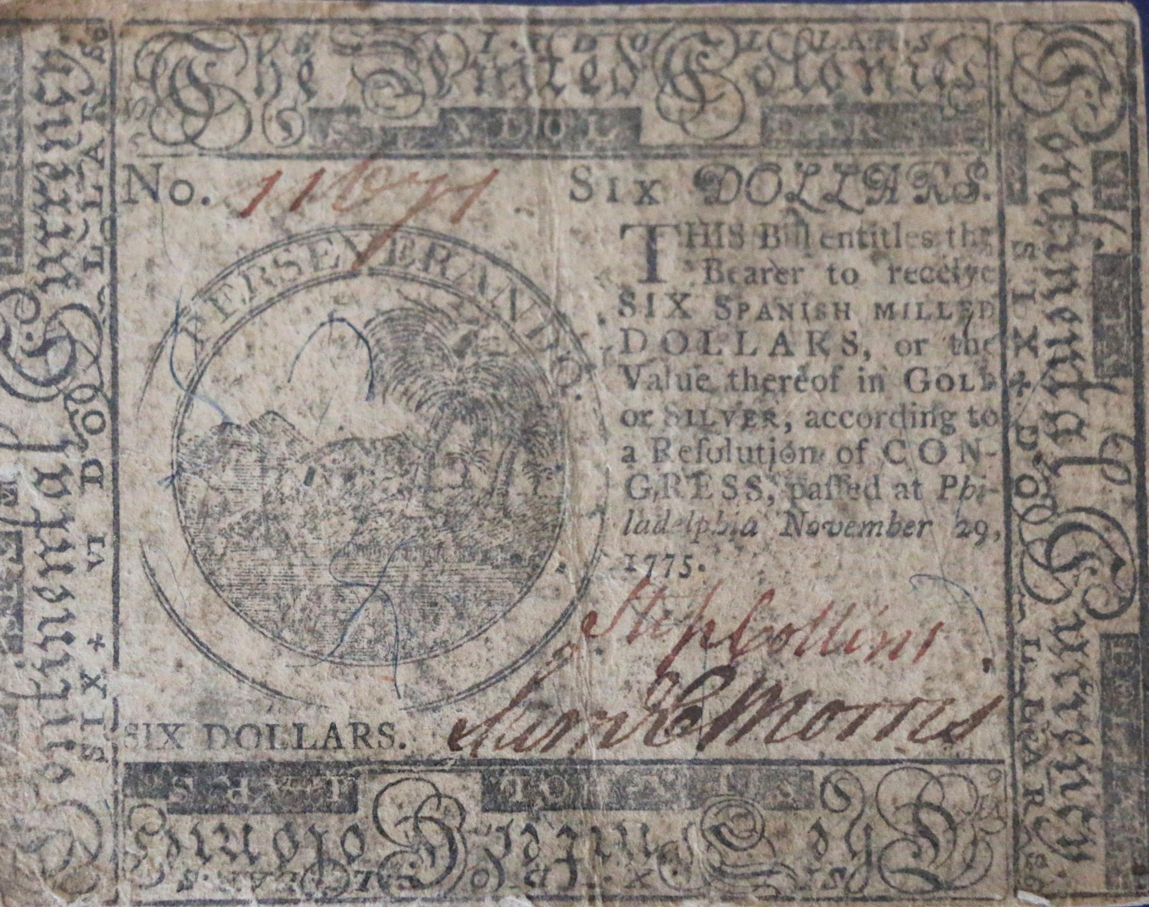 Six Dollars Continental Currency Nov. 29, 1775