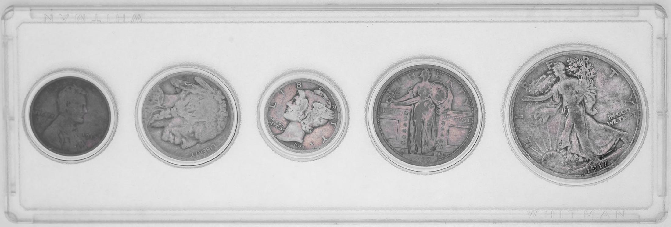 1917 Penny Nickel Dime Quarter Dollar