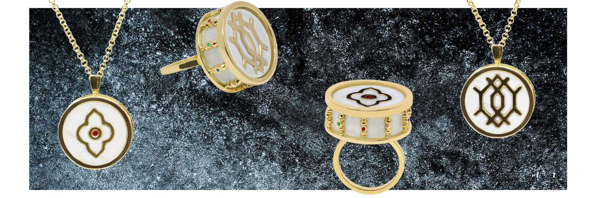 MARBLED MOTIFS - The Geo & Arabesque range of pendants and rings are statement pieces dripping in decadence. Meticulously crafted with dazzling gold motifs inlayed into precious Calacatta marble, this combination creates a gorgeous, high end and distinctive look.