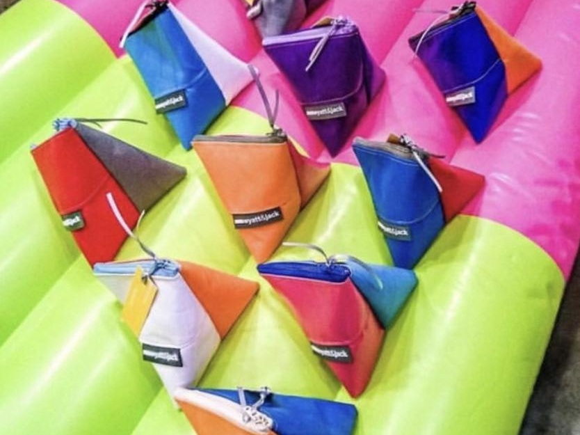 Mini Triangle Pouch - Made from a selection of inflatable off-cuts.These come in mixed colour batches- if you would like them to match the other products in your selection, please let us know.Dimensions: H 40mm x W 40mm