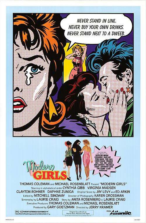   Film Title   Modern Girls     Director  Jerry Kramer.    Writers  Laurie Craig, Anita Rosenberg.    Starring  Cynthia Gibb, Virginia Madsen, Daphne Zuniga.    Release Date  November 7, 1986 (US).    Runtime  84 min.