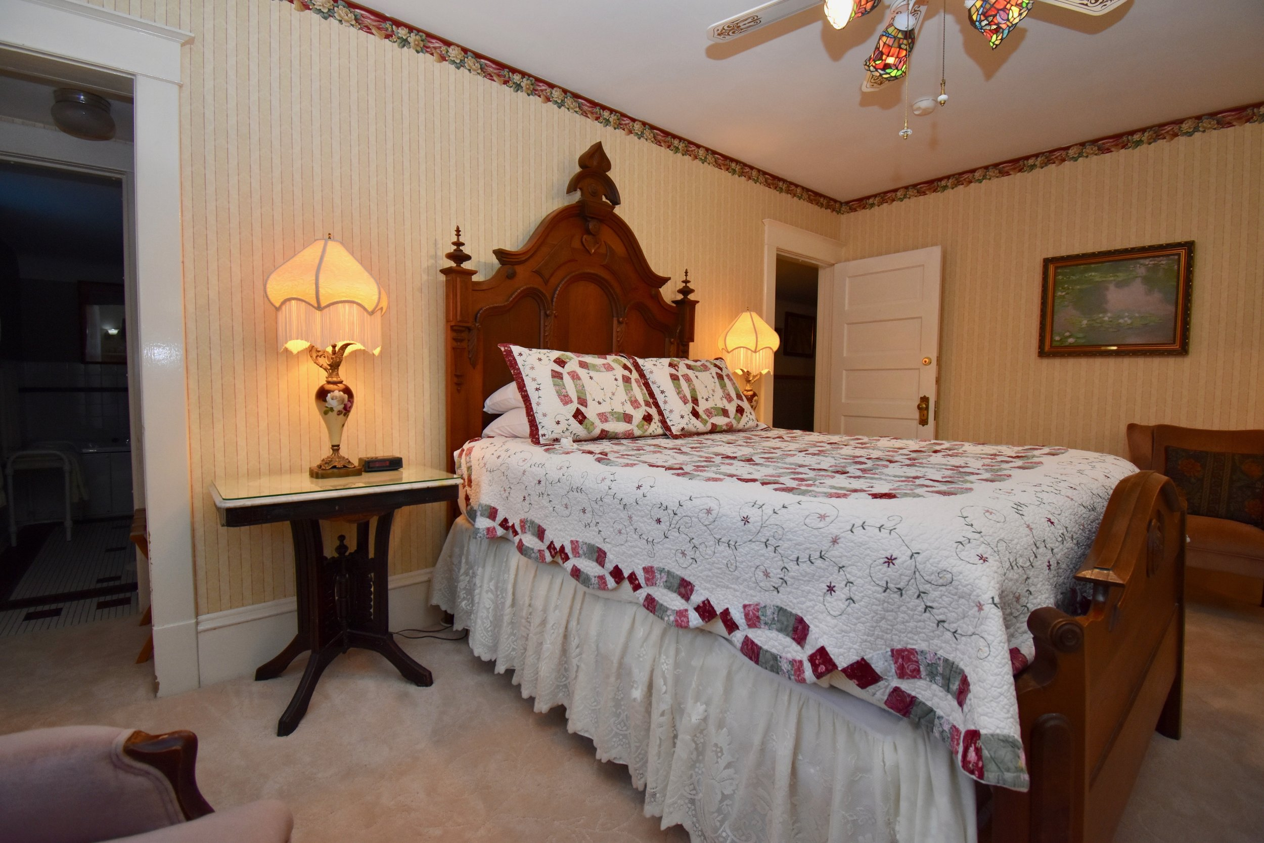 Queen Bed with 2 Wingback Chairs