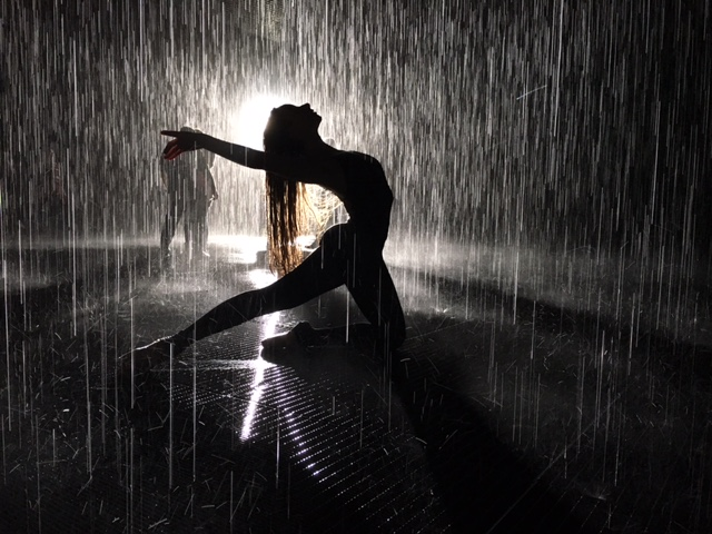 imaginate ink kid dances in the rain - Congrats to Solana, who received special permission from LACMA and the European makers of its Rain Room to dance in the rain to promote the charitable book she illustrated, Harold the Hippo Dances in the Rain. She had 15 minutes to snap this shot, which was taken on an iPhone! Read her moving story here.