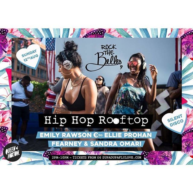 @irockthebelles last rooftop party was a VIBE! We're back Sun 12th Aug for another #HIPHOPROOFTOP RAVE @queenofhoxtonldn. Tx from link in bio! Food & cocktails served on the roof allll day! 2pm-10pm w/ Djs @emilyrawsondj @djellieprohan @djfearney @sandraomari_ 🔥 . . . . . . . . . . . . . . . . . #silentdisco #silentrave #hiphop #hiphoprave #rooftop #rooftoprave #newhiphop #afrobeats #dancehall #shoreditch #queenofhoxton #london #londonrooftop #rooftopparty #drake #davido #jayz #beyonce #nas #kendrick #kanye #cardib #migos