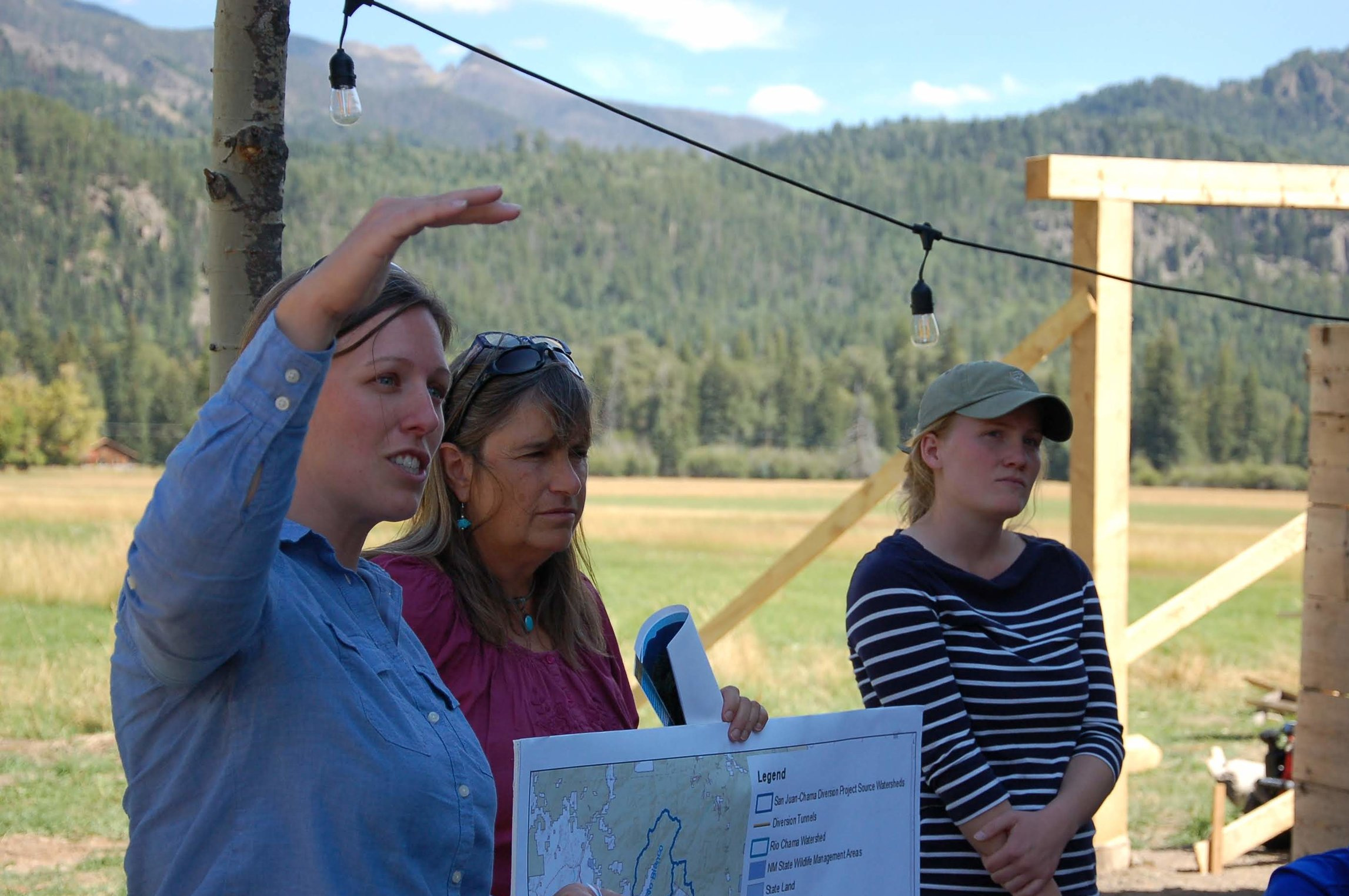 Emily (left) with Mary Stuever (center, NM State Forestry) and Emma Kelly (right, Bureau of Reclamation) during a field tour in the Blanco Basin in August 2018.