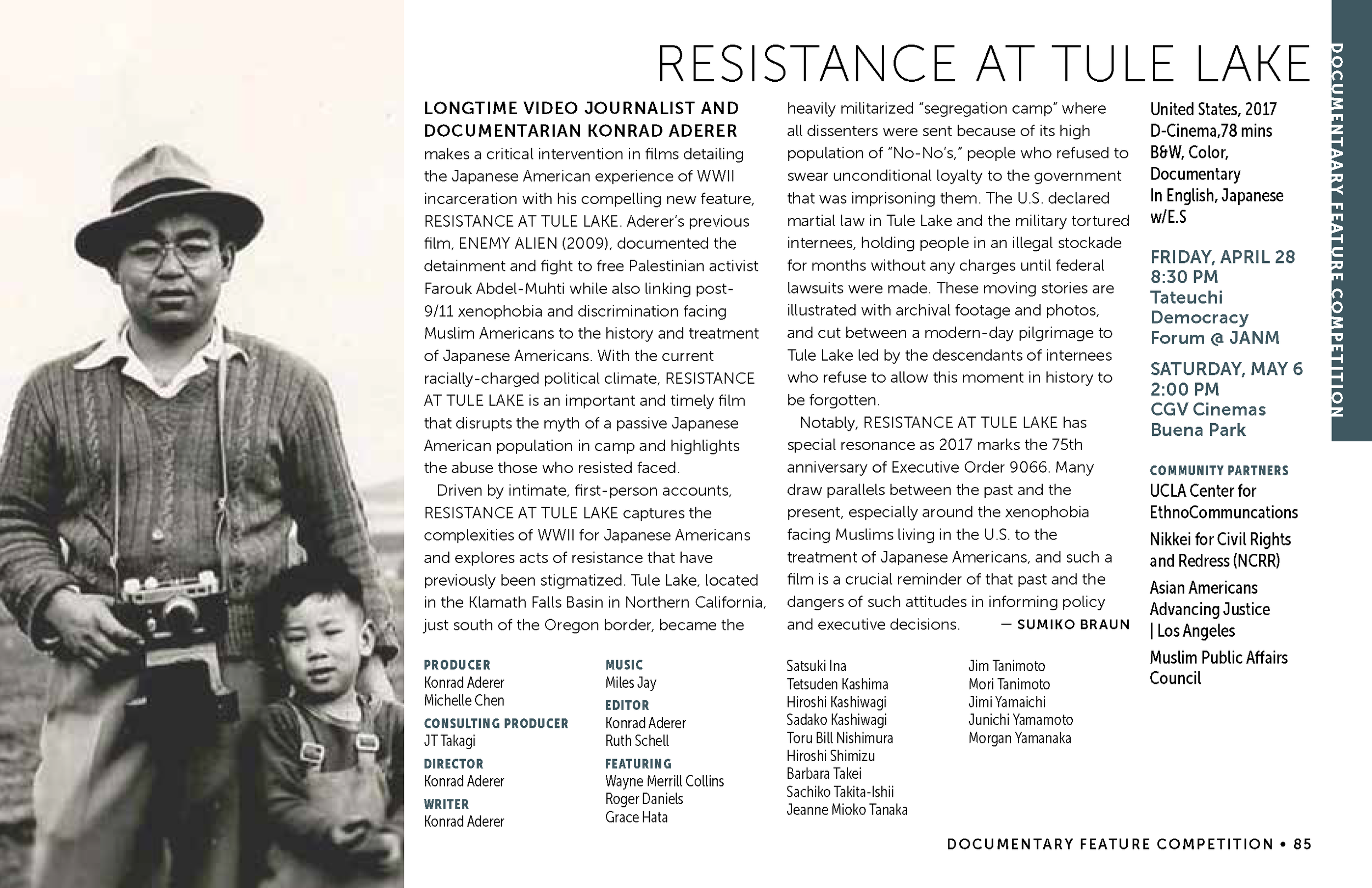 LAAPFF 2017 Program Notes: RESISTANCE AT TULE LAKE