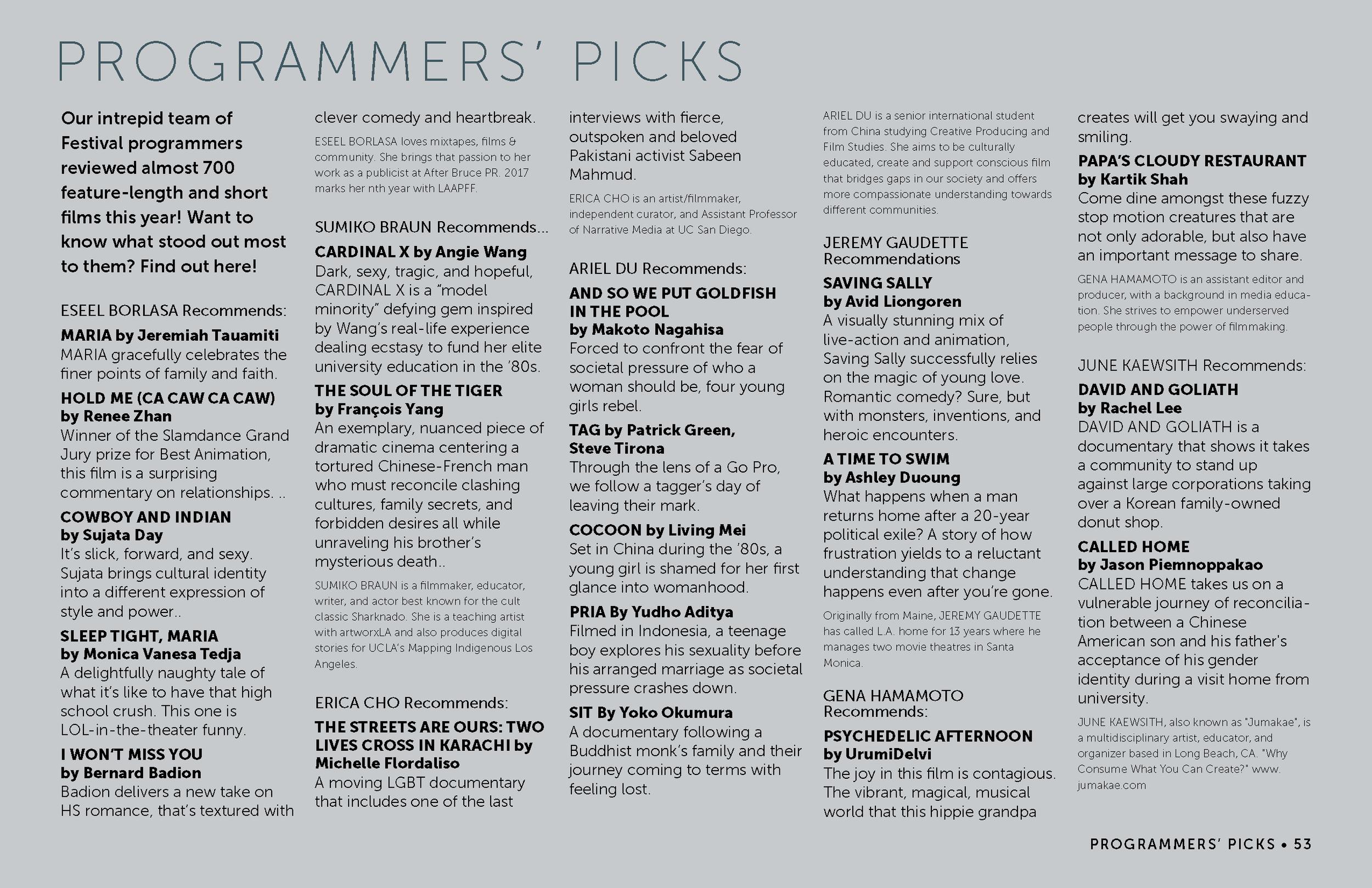 LAAPFF 2017 Programmers' Picks