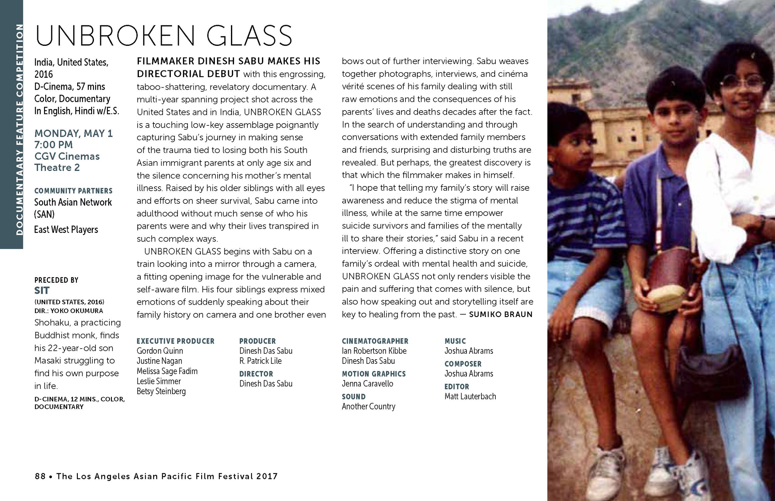LAAPFF 2017 Program Notes: UNBROKEN GLASS