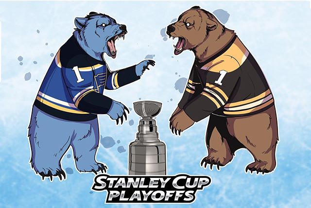 Wanted to make some art to commemorate the last game of the Stanley Cup Finals. I'm excited to see the outcome! . . . . . . . . . . #stanleycup #stanleycupfinals #stanleycupfinals2019 #stlouisblues #hockey #hockeyart #bruins #bostonbruins #bear #bearart #hockey🏒 #icehockey #art #sports #instaart #illustration #digitalart #blues #blueshockey #stlblueshockey