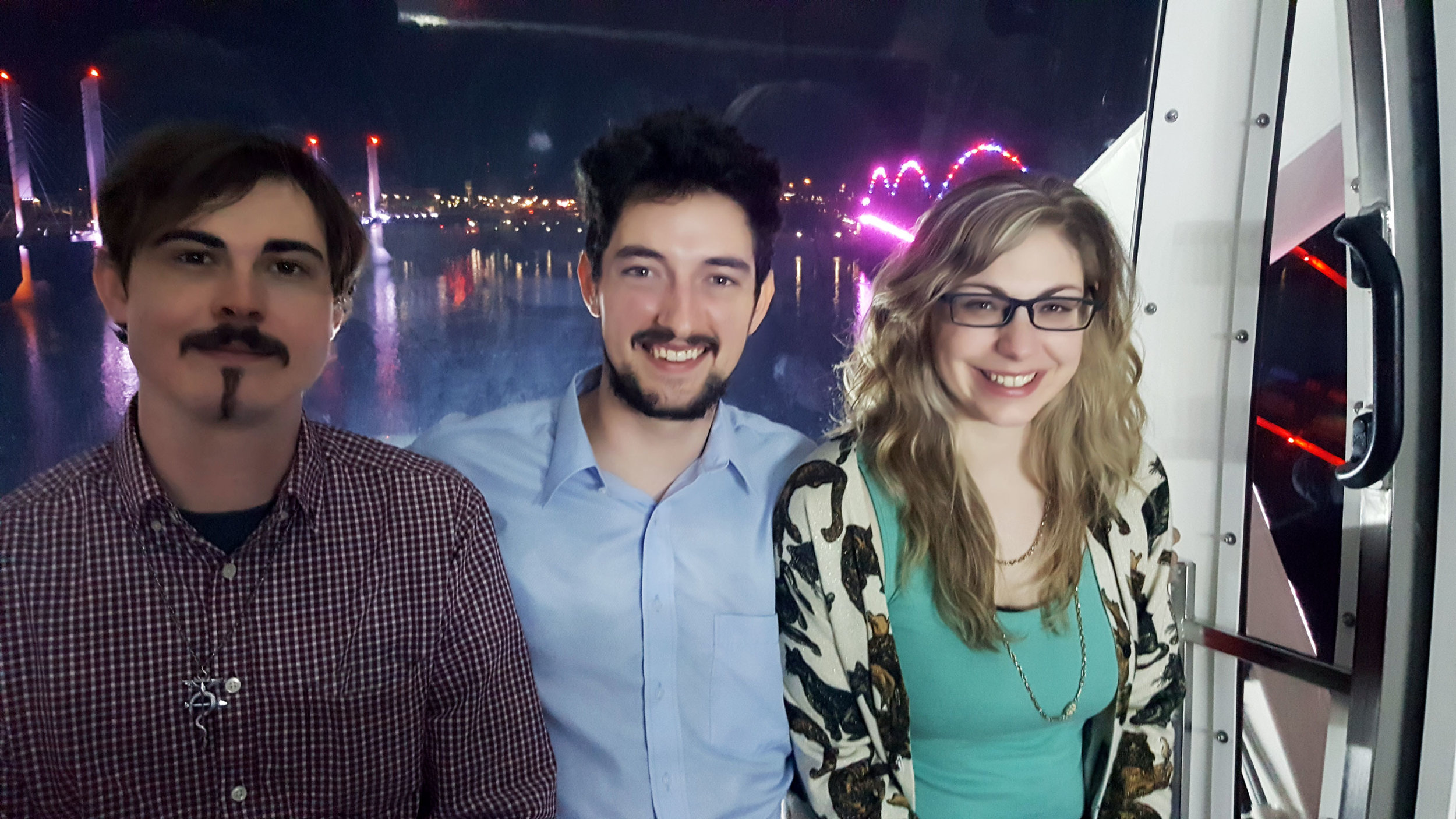 Richard, Jody, and Mariah celebrating a successful Kickstarter launch on the Ferris wheel overlooking the Ohio River in Downtown Louisville, KY!