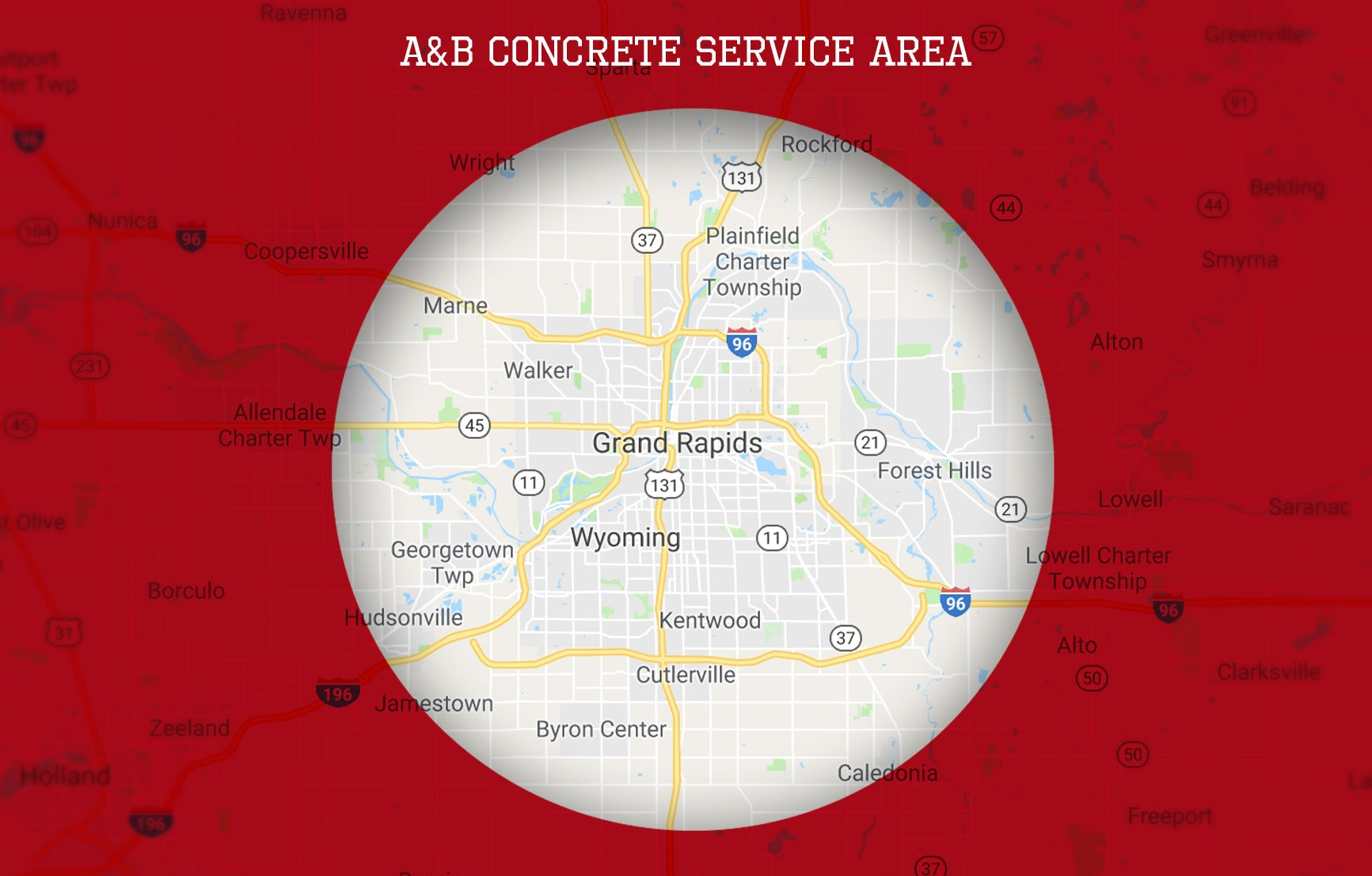 Service Area - Our service area is limited to the greater Grand Rapids area. If you are outside of the service area pictured, call us at 616-901-0900 to discuss further.