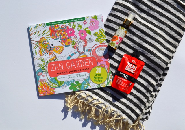 Beach Bae Box  - the 'Beach Bae' box includes a Fouta or Turkish Towel - this Boss+Bae fave is tightly woven, which makes it more absorbent and faster drying than traditional towels, and it's large size means it's so much more than a towel - use as a sarong, cover-up, blanket, scarf…//Sun DMC Mineral Sunscreen by Let it Block, to keep your melanin 'fresh', // Zen Garden Adult Coloring Book for the Vacay or that Doctor's appt. day - less screen time for the meantime and between time // Maui Soap Co. Plumeria Nectar Body Mist for all your glow-up goals.
