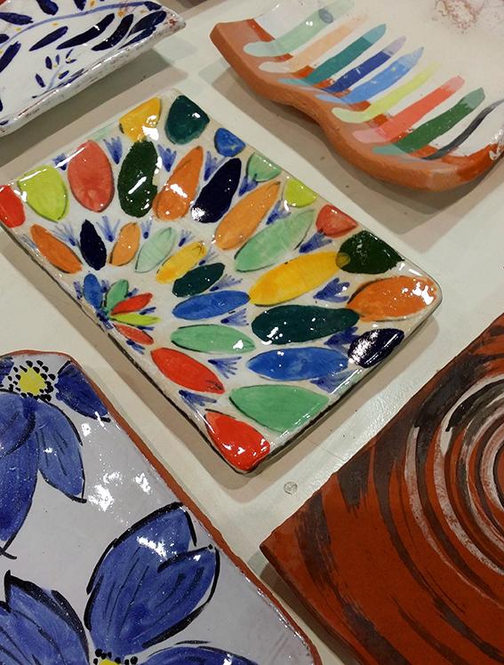 Colourful hand built platters