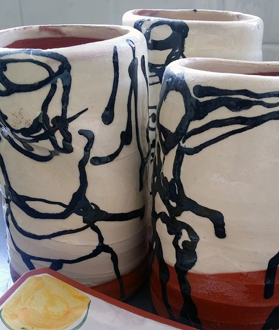 Hand buillt vases with Steven