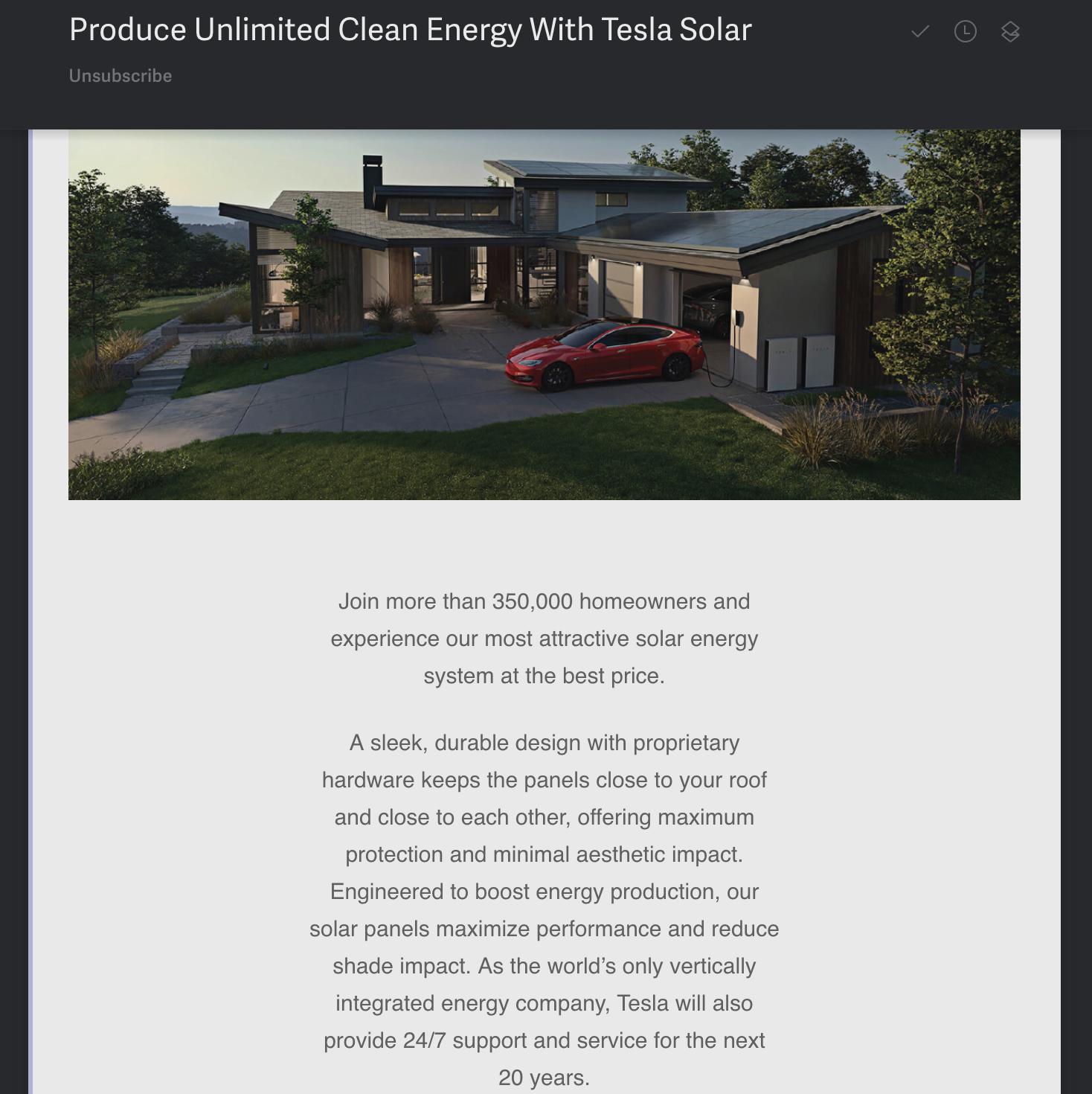 Tesla Energy Email