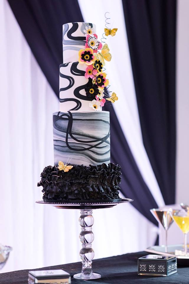 Black is Bold - This bride had serious style credentials! We simply loved making this black cake with pops of color.