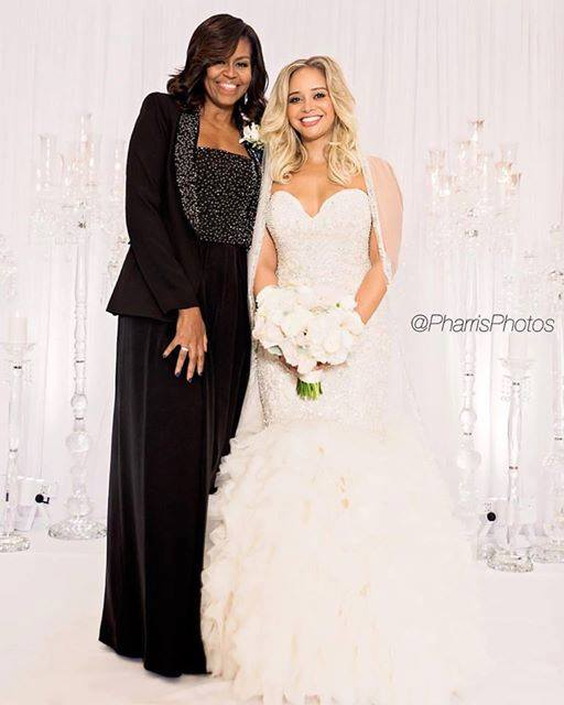 The Bride - The beautiful bride stands for a picture with the former first lady, Michelle Obama.Photo by: Pharris Photography