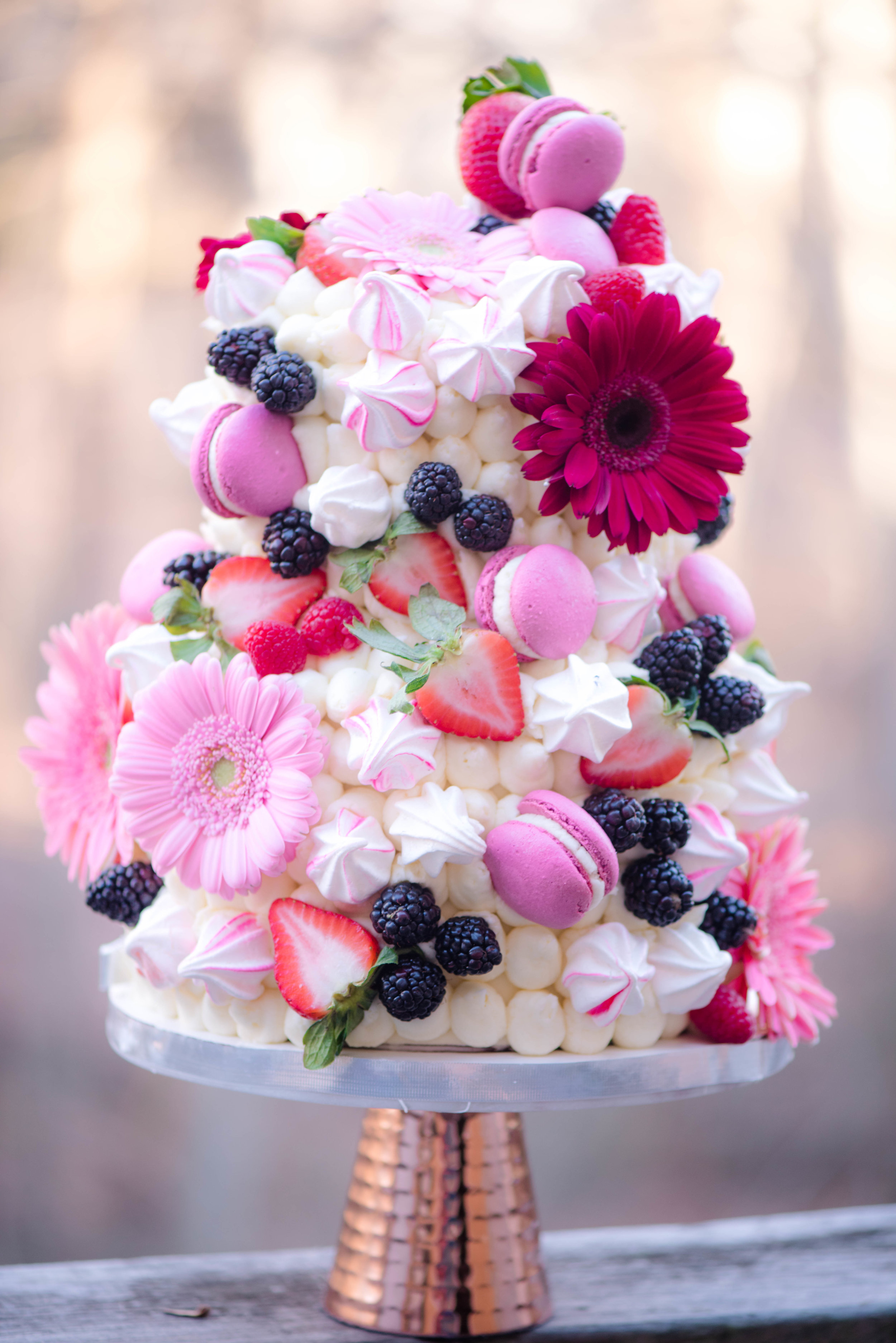 A berry pretty cake! - The cake would be perfect for a bithday or a wedding.