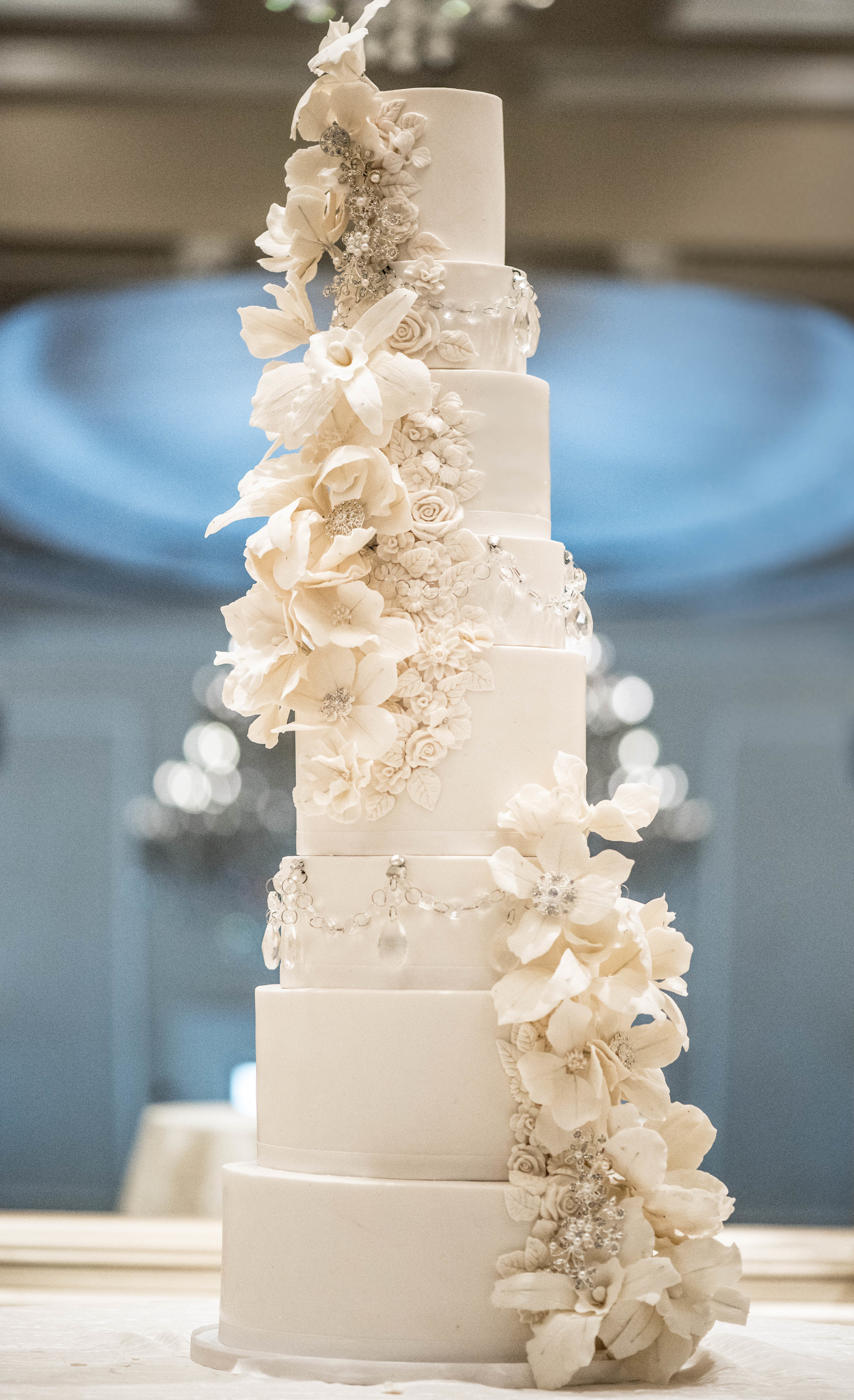 The towering cake was 8-tiers and 36 inches tall. -
