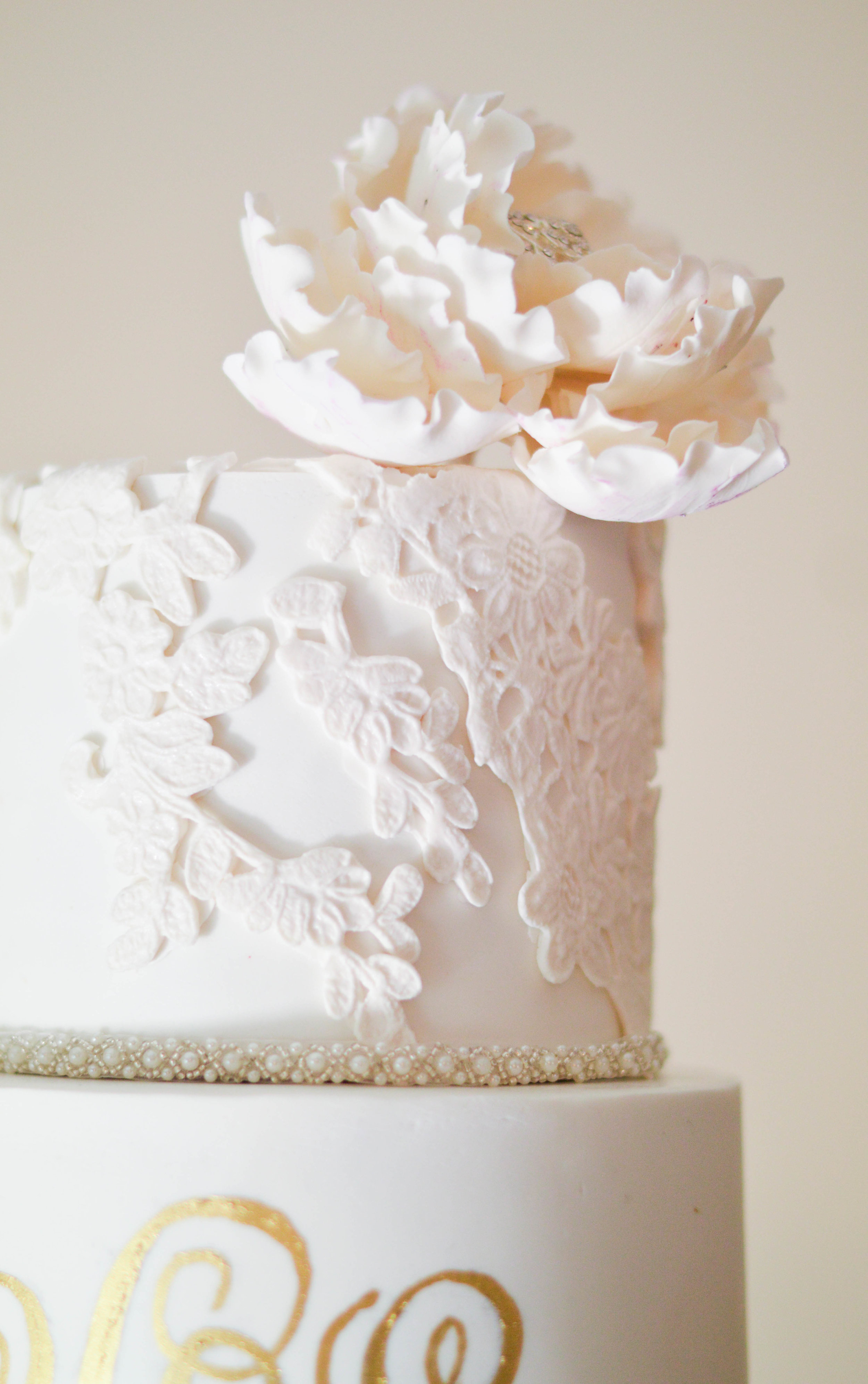 Lace and Luster - Pretty sugar-lace appliques adorned two of the tiers, which really added a touch of femininity and romance to the design.