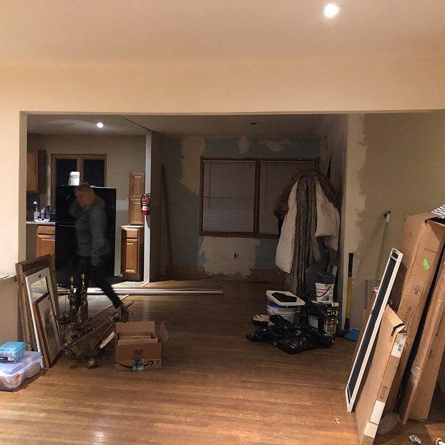 Look at all that light!  That header had to go!  By eliminating the beam and swapping out the windows for a large sliding door, we were able to open up the space tremendously. #hollyglenhouse #demolition #interiordesign #homerenovation #hubestateliquidation #homeimprovement #kitchendesign #bathroomdesign #interiordecorating #interiors #openconcept #openfloorplan