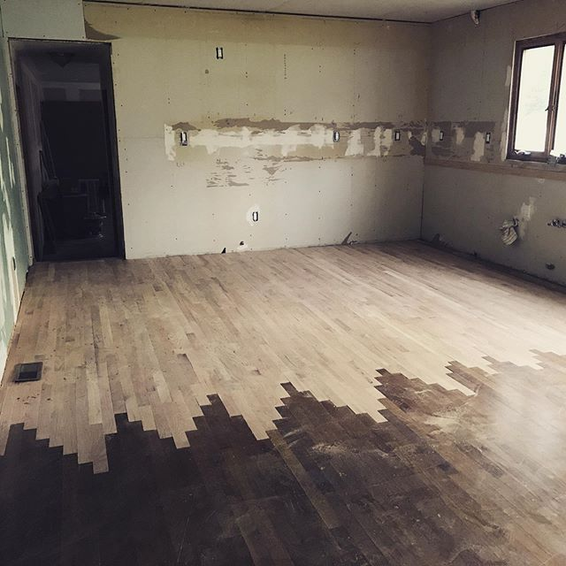 The original wood flooring at the #hollyglenhouse is way too nice to replace.  Rather than rip it out we were able to tie in new floors throughout the home. Can't wait to stain and polish them up! - - - -  #hollyglenhouse #houseflipping #construction #working #hubestateliquidation #fixerupper #homesweethome #houses #hgtv #kitchendesign #bathroomdesign #housetohome #nj #interiordesign #midcenturymodern #midcentury #followforfollowback #likeforlikes #hardwoodfloors