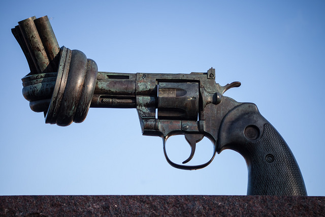 """Image: """" The Knotted Gun """" by  Håkan Dahlström  is used by  permission"""