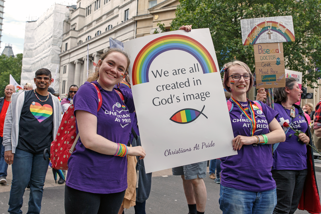 """"""" Pride in London 2016—Young Christians in the Parade with a Sign """" by  Katy Blackwood  is a Creative Commons image, licensed under  CC BY-SA 4.0"""