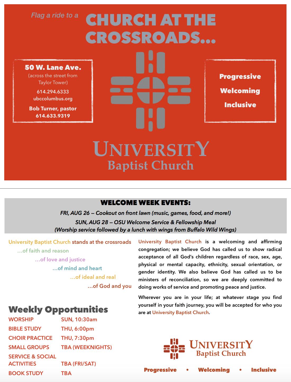 Welcome Week Handout, August 2016