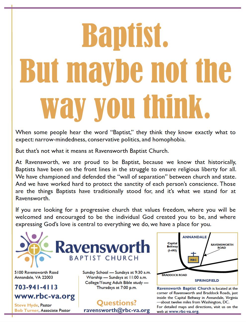 """Baptist"" Promotional Flier, 2010"