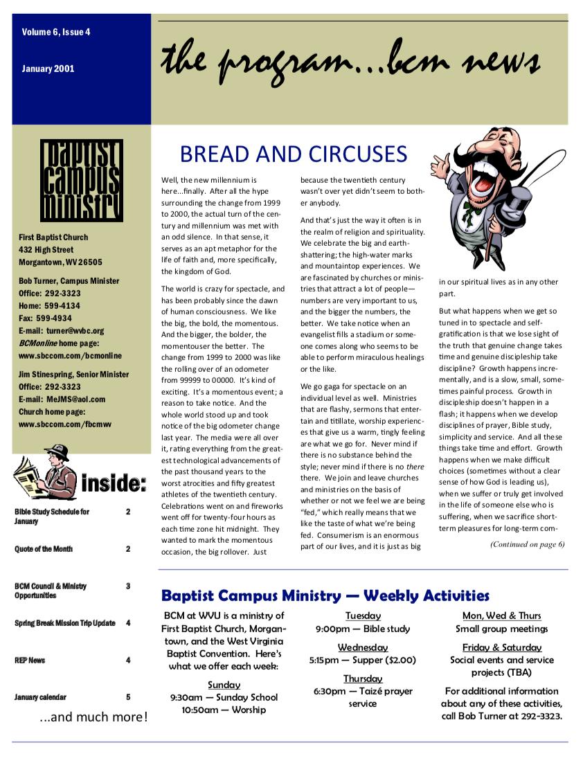 Baptist Campus Ministry Newsletter, Jan 2001