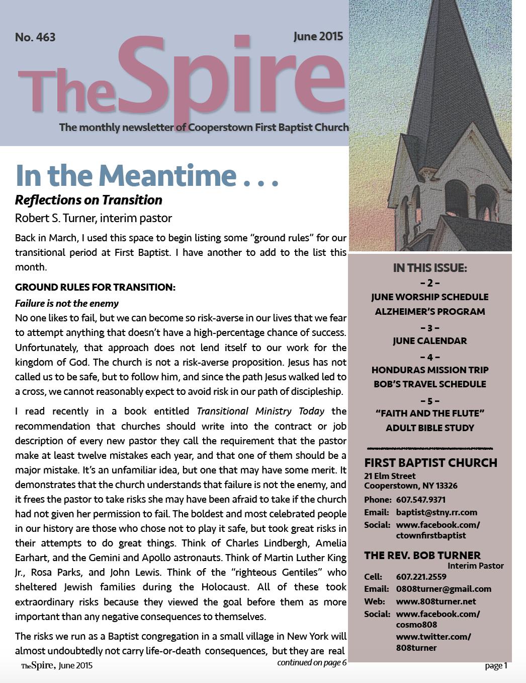 First Baptist Newsletter, Jun 2015