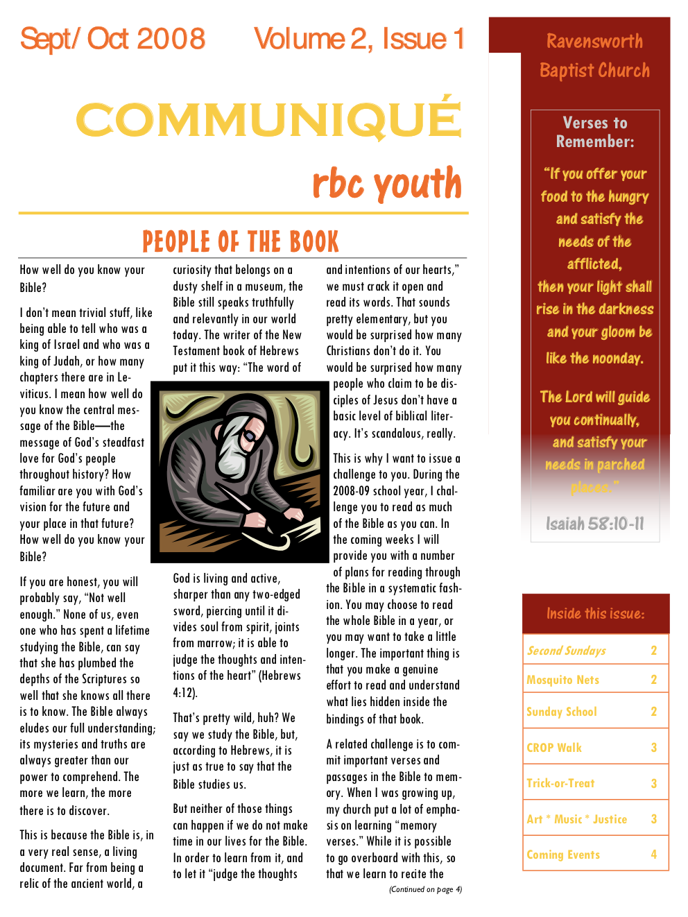 Ravensworth Baptist Church Youth Newsletter, Sep 2008