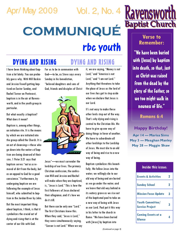 Ravensworth Baptist Church Youth Newsletter, Apr 2009