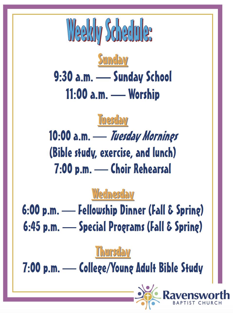 Ravensworth Weekly Schedule