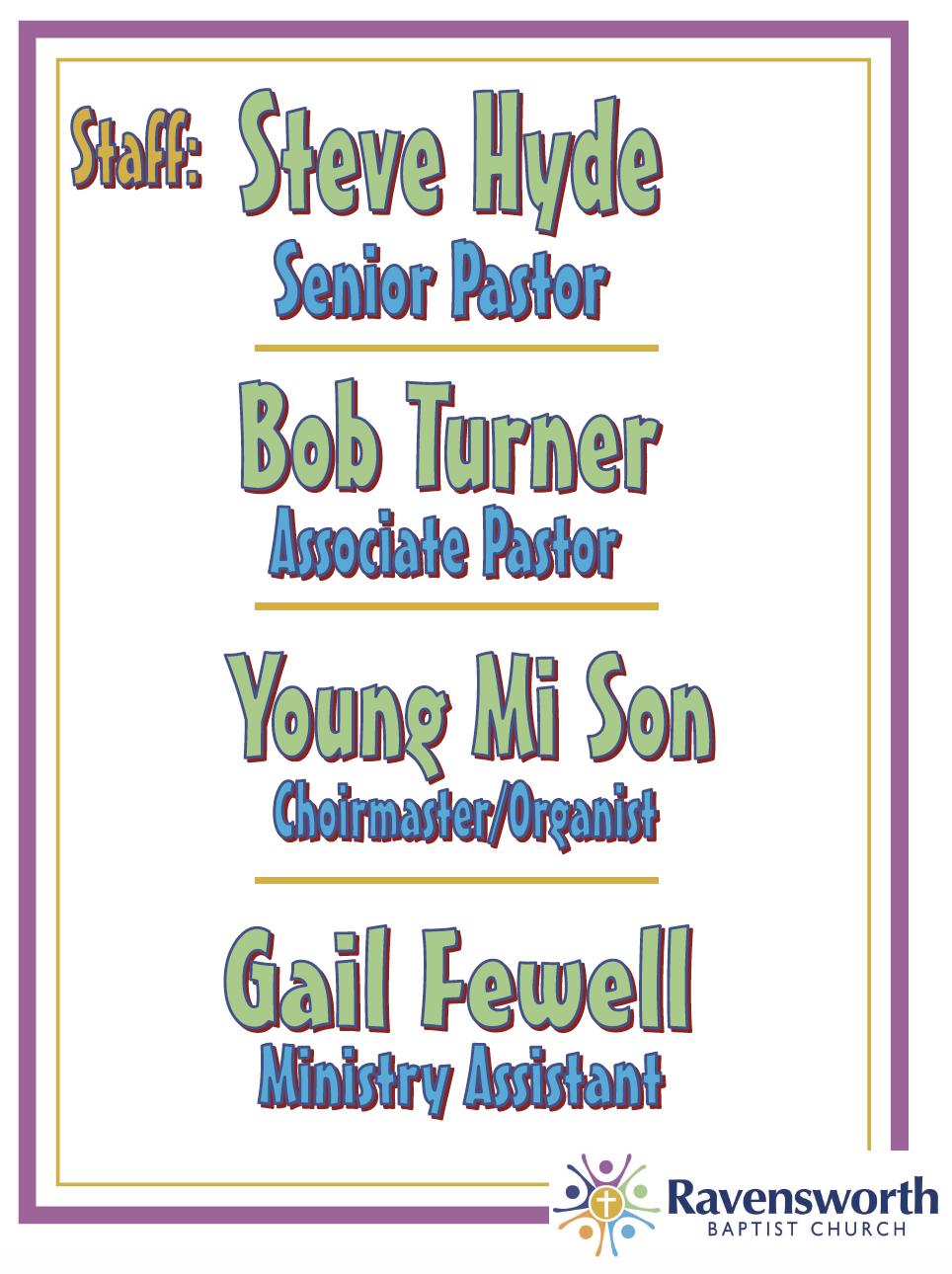 Ravensworth Staff List