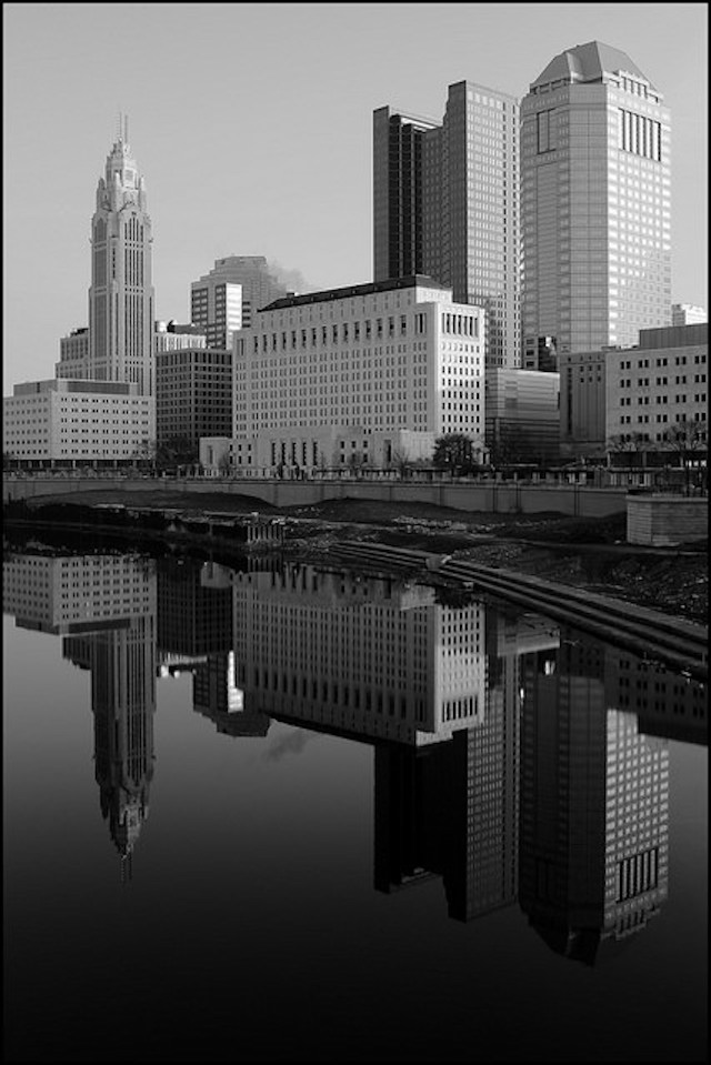 """"""" Cityscape 016: Columbus, Ohio """" by  Stephen Wolfe  is a Creative Commons image, licensed under  CC BY-NC 2.0"""