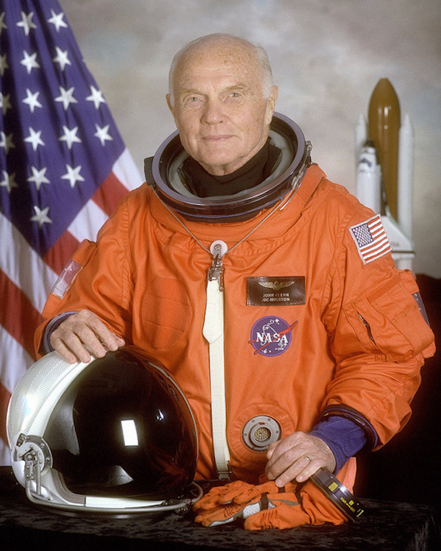 """"""" Astronaut U.S. Senator John Glenn """" by  NASA on the Commons  is a Creative Commons image with no known restrictions"""