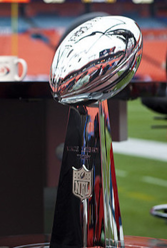 """Image: """" Lombardi Trophy and Quintano Media """" (cropped) by  Anthony Quintano  is used by  permission"""