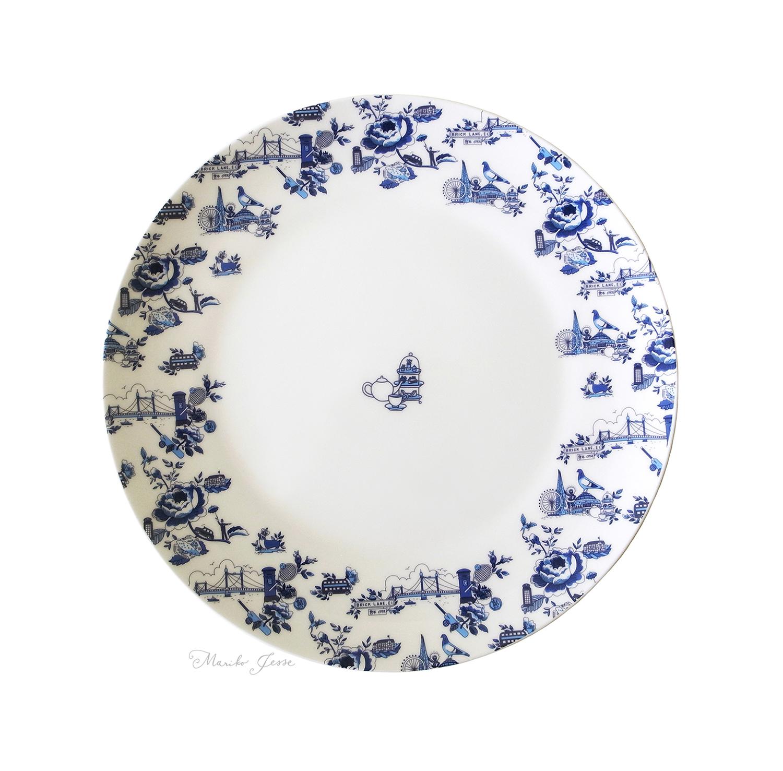 London toile dinner plate