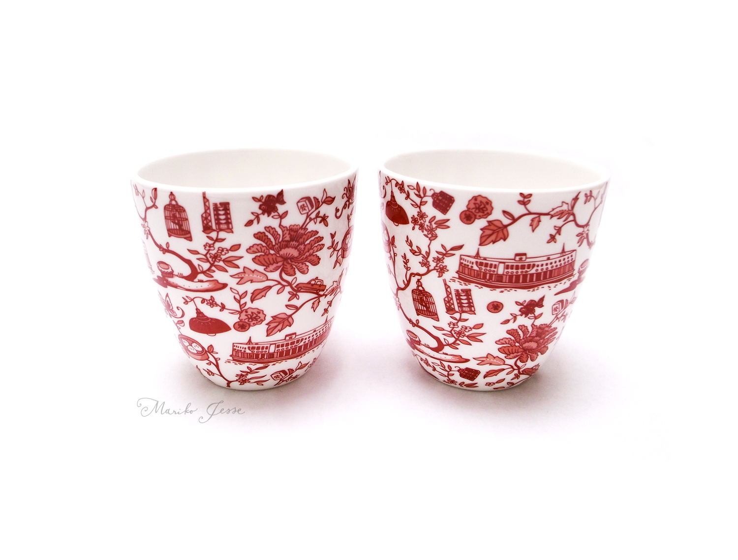 Chinese cups in HK toile ceramic collection